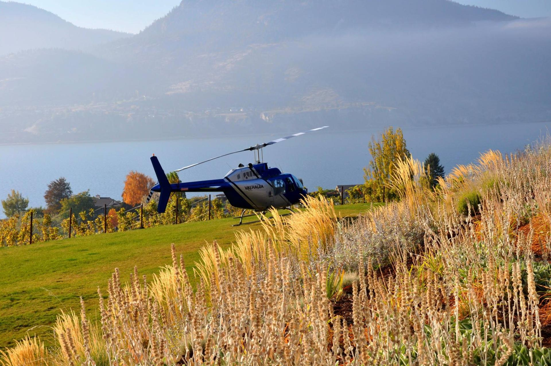 Helicopter in Okanagan Vineyard in Fall