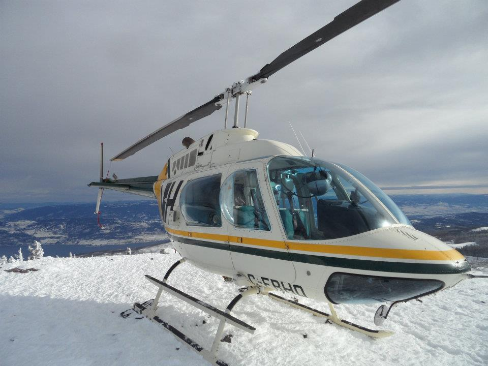 Valhalla helicpter on snowy Okanagan peak