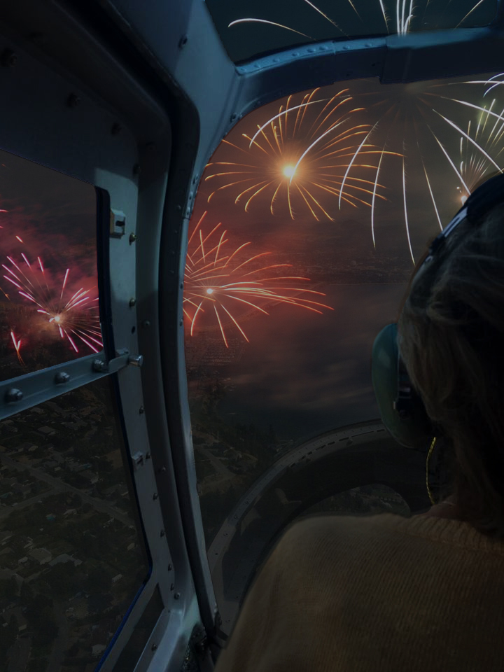 fireworks from a helicopter