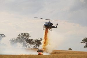 Helicopter and firetruck bushfires