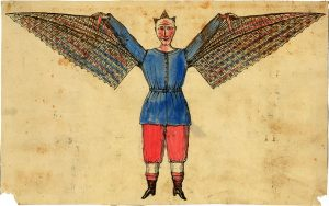 Medieval illustration of man with wings