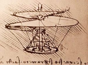 Leonardo Davinci drawing of helical airscrew