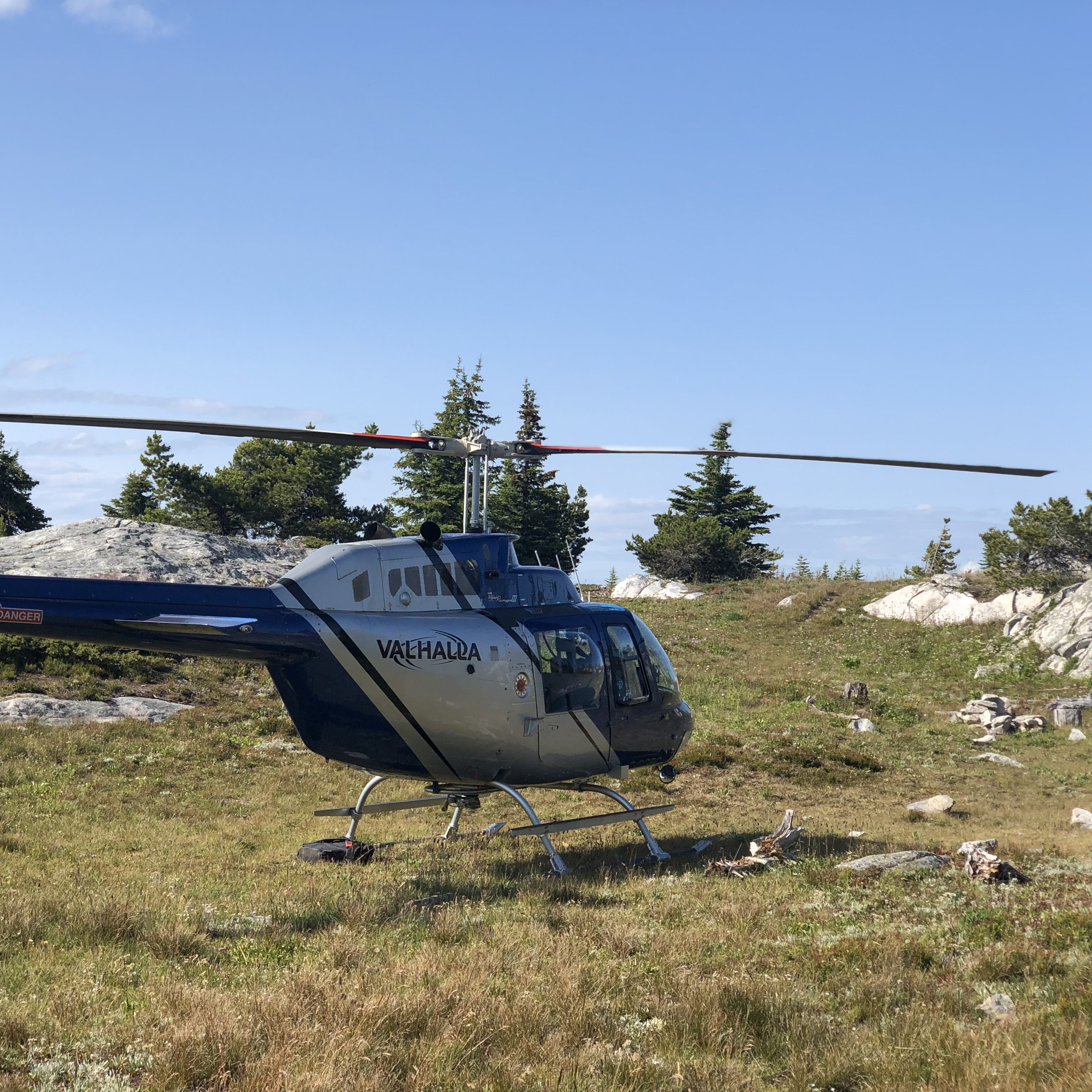 Valhalla helicopter in alpine meadow
