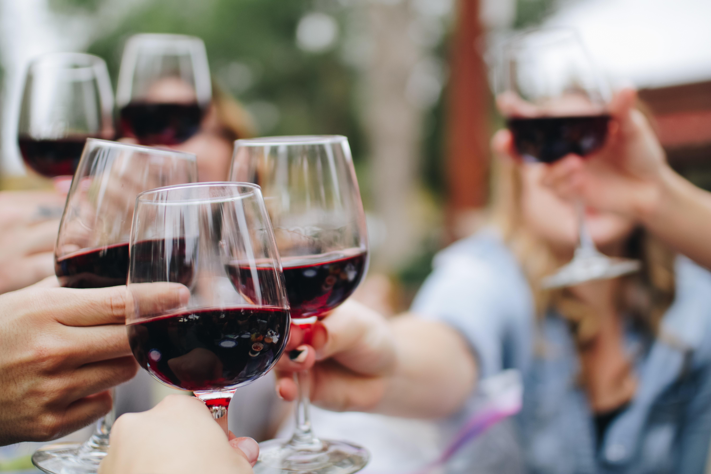 Okanagan valley heli wine tour guests toast
