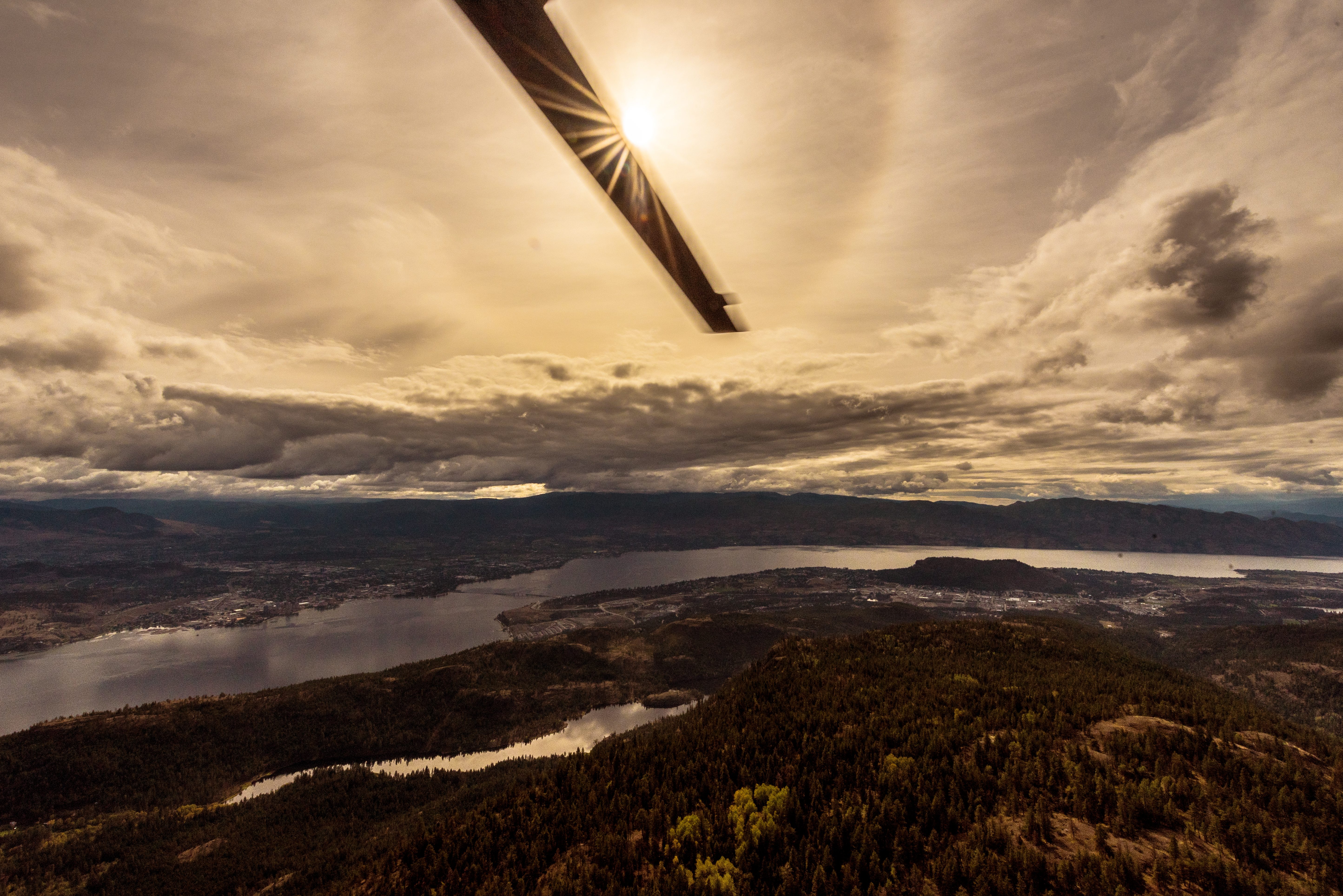 view of Kelowna from helicopter